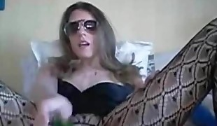My MILF Exposed Wife in crotchless  with cucumber