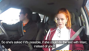 Youthful redhead slut pussy examined at her driving test