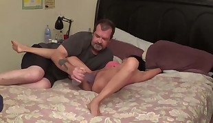 Ample dildo in a stepdaughter',s pussy
