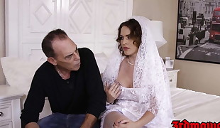 Huge-chested bride cuckolds hubby with BBC on their wedding day