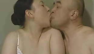 Japanese Tongue Smooching - Middle-Aged Duo Make-out