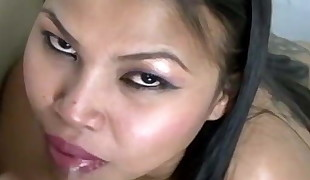 Busty Chinese girl awaits cum in mouth after sucking dick