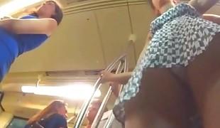 Upskirt Teenage Milky G-string Frontal on Metro