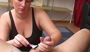 Inexperienced - Redhead Shaves BF &, Gives CIM Facial - Hubby Films